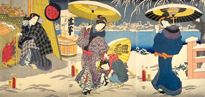 江戸時代の冬景色(『小春十二月の内初雪』三代歌川豊国 画)