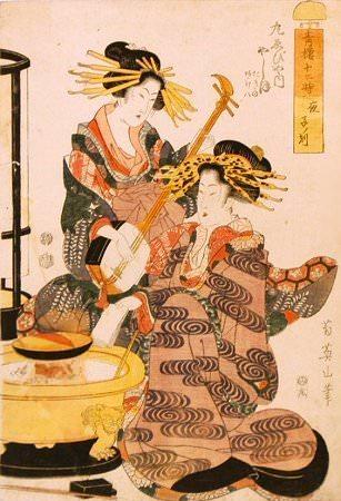 火鉢にかけた鍋を囲む江戸時代の女性たち(『青楼十二時 夜 子の刻』菊川英山 画)