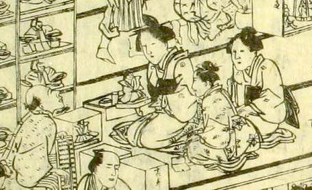 雛市でひな人形を選ぶ女性たち(『江戸名所図会』より)