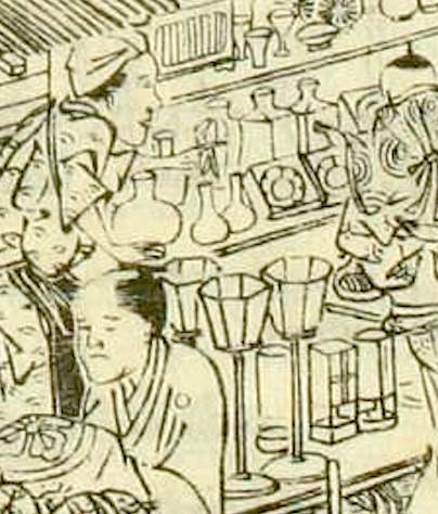 雛市で売られている雪洞(ぼんぼり)や白酒の酒器(『江戸名所図会』より)
