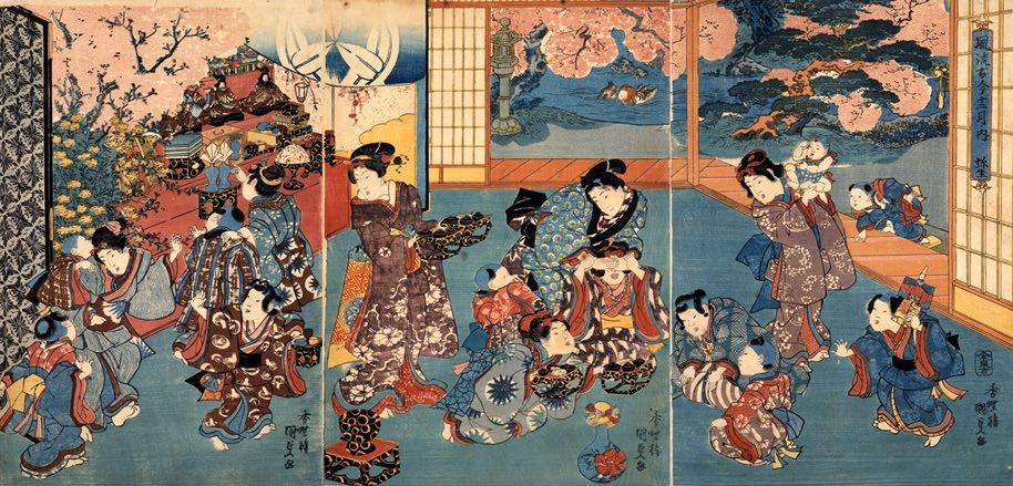 江戸時代の裕福な家のひな祭り(『風流古今十二月ノ内 弥生』歌川国貞 画)の拡大画像