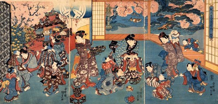 江戸時代の裕福な家のひな祭り(『風流古今十二月ノ内 弥生』歌川国貞 画)