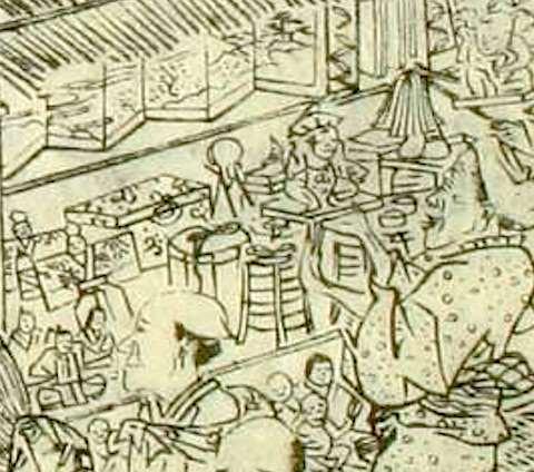 雛市で売られている屏風や婚礼道具(『江戸名所図会』より)
