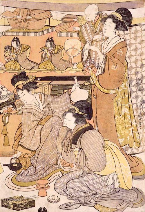 三段飾りのひな人形(二代目喜多川歌麿 画)
