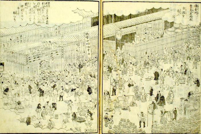 江戸時代の酒屋・豊島屋。白酒初売りの日は大繁盛だった(『江戸名所図会』より)
