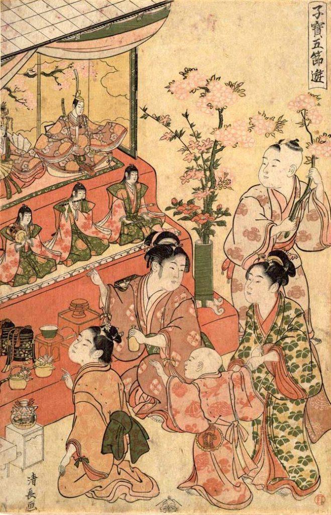江戸時代からひな飾りに桃の花は欠かせなかった(『子宝五節句遊 雛遊』鳥居清長 画)の拡大画像
