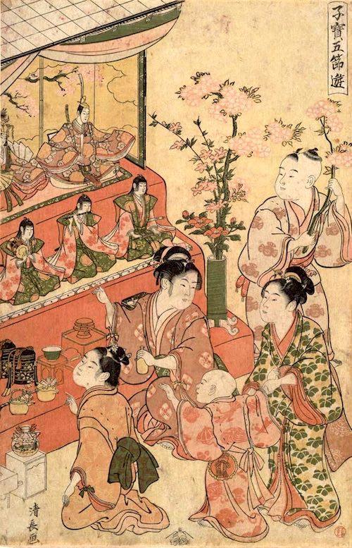華やかな江戸時代のひな祭り(『子宝五節句遊 雛遊』鳥居清長 画)