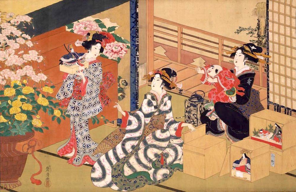 ひな祭りの準備中(『雛祭図』歌川豊清 画)の拡大画像
