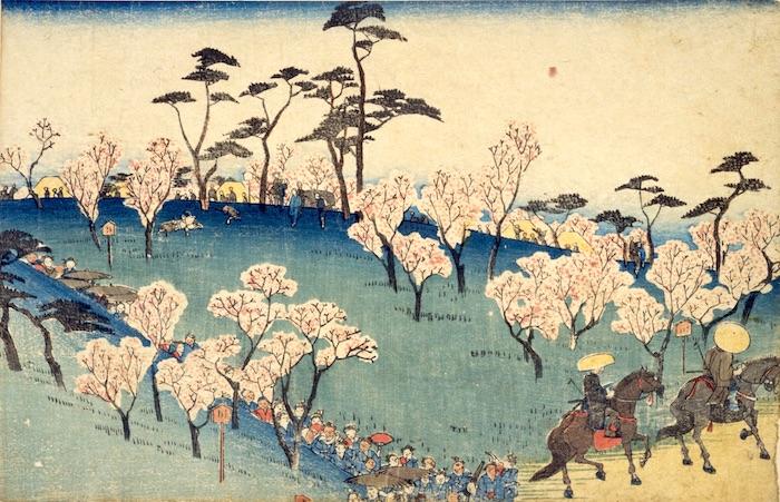 江戸時代の飛鳥山での花見(『飛鳥山はな見』歌川広重 画)