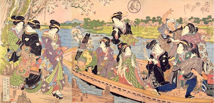 芸者たちと舟でのお花見(『花見帰り隅田の渡し』渓斎英泉 画)