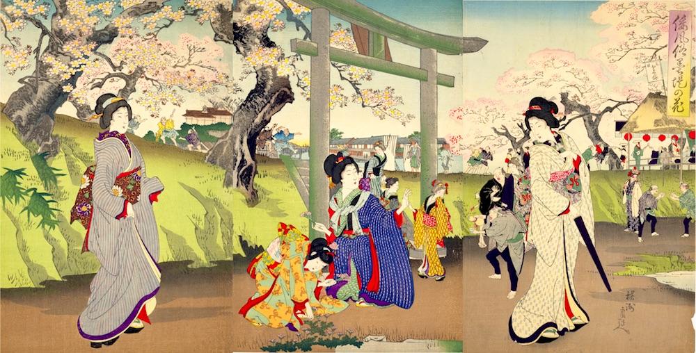 江戸時代、隅田川沿いでのお花見風景(『倭風俗墨堤の花』揚州周延 画)の拡大画像