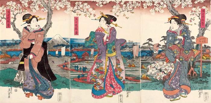 花見小袖に身を包む女性(『隅田堤花盛』渓斎英泉 画)