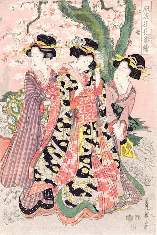 お花見をする美女たち(『風流花見姿絵』菊川英山 画)