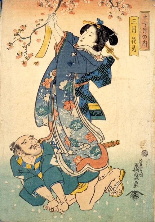 花見で桜の木に短冊を結ぶ女性(『十二ケ月の内 三月 花見』渓斎英泉 画)