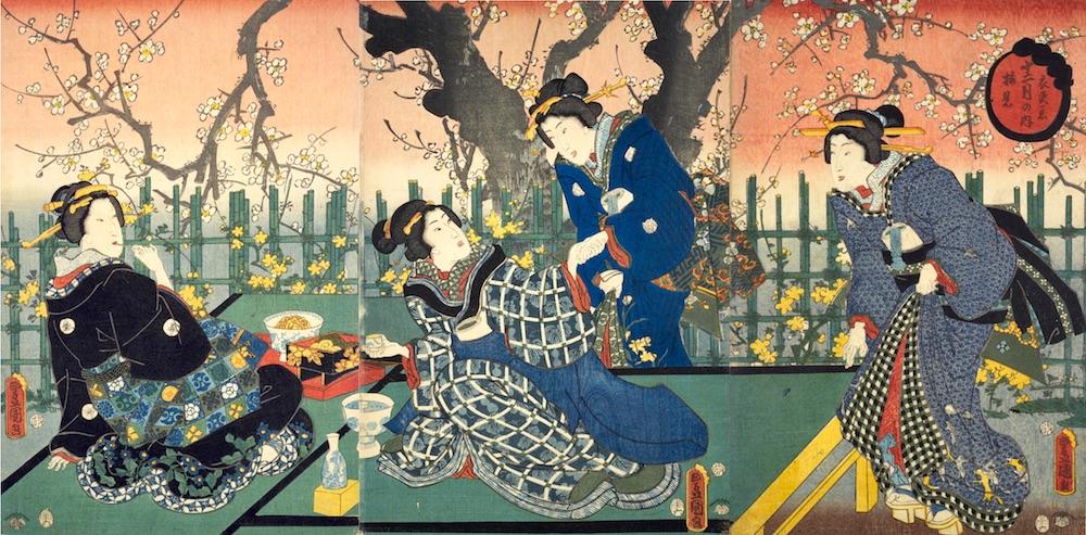 江戸時代の梅見(『十二月の内 衣更着 梅見』三代歌川豊国 画)の拡大画像