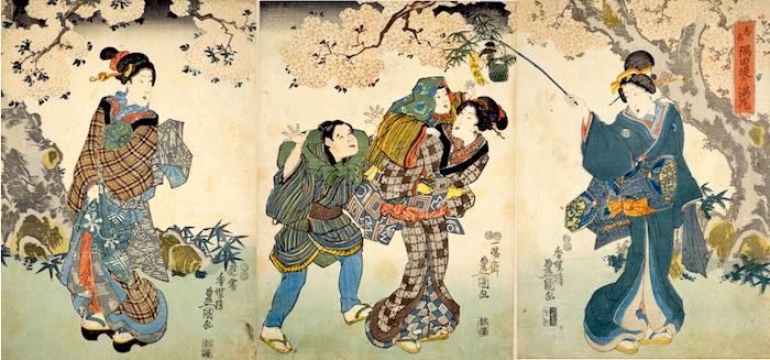 桜餅に手を伸ばす子ども(『春色隅田堤の満花』歌川豊国 画)