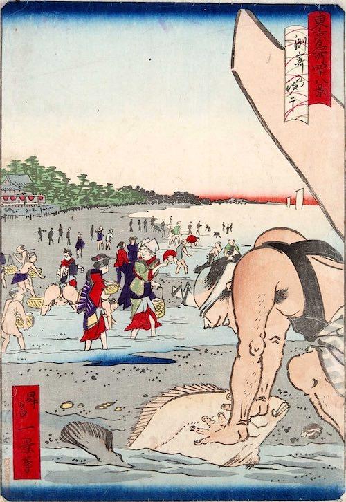 潮干狩りでヒラメを捕まえる男性(『東京名所四十八景 洲崎乃汐干』歌川一景 画)