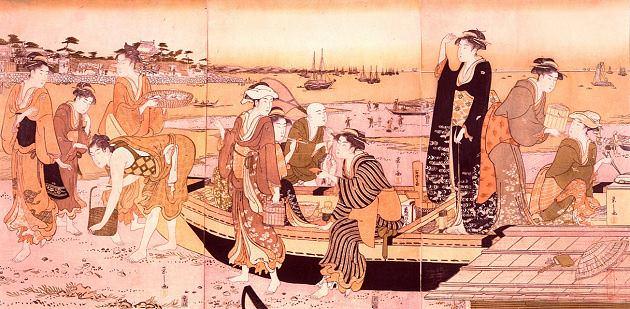 潮干狩りで獲った貝などを鍋で調理する様子(『潮干狩』鳥文斎栄之 画)