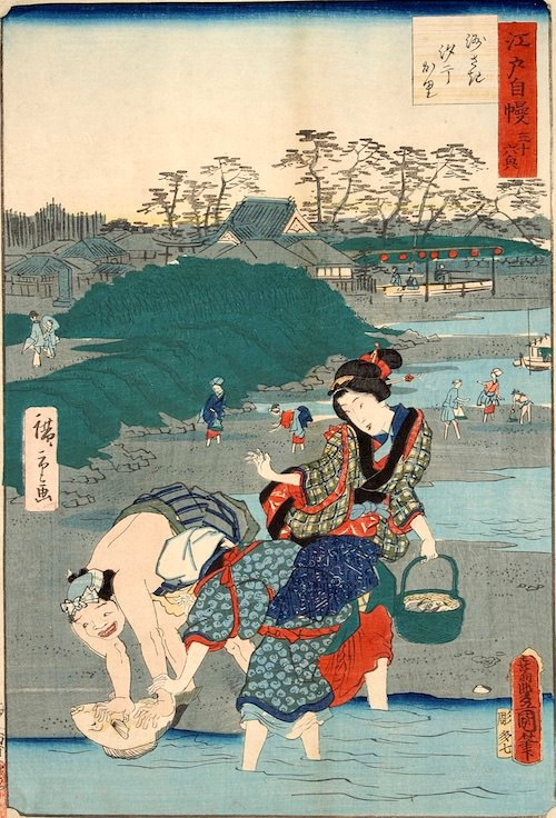 潮干狩りで脛や腕を露出する江戸時代の女性(『江戸自慢三十六興 洲さき汐干かり』歌川国貞 画)