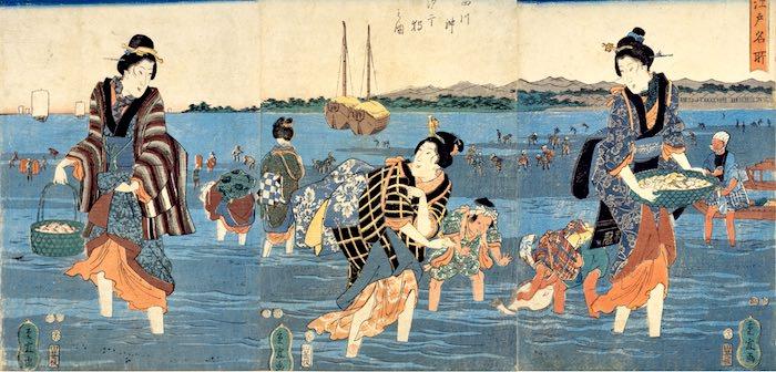 品川で潮干狩りをする女性(『江戸名所 品川沖汐干狩之図』歌川重宣 画)