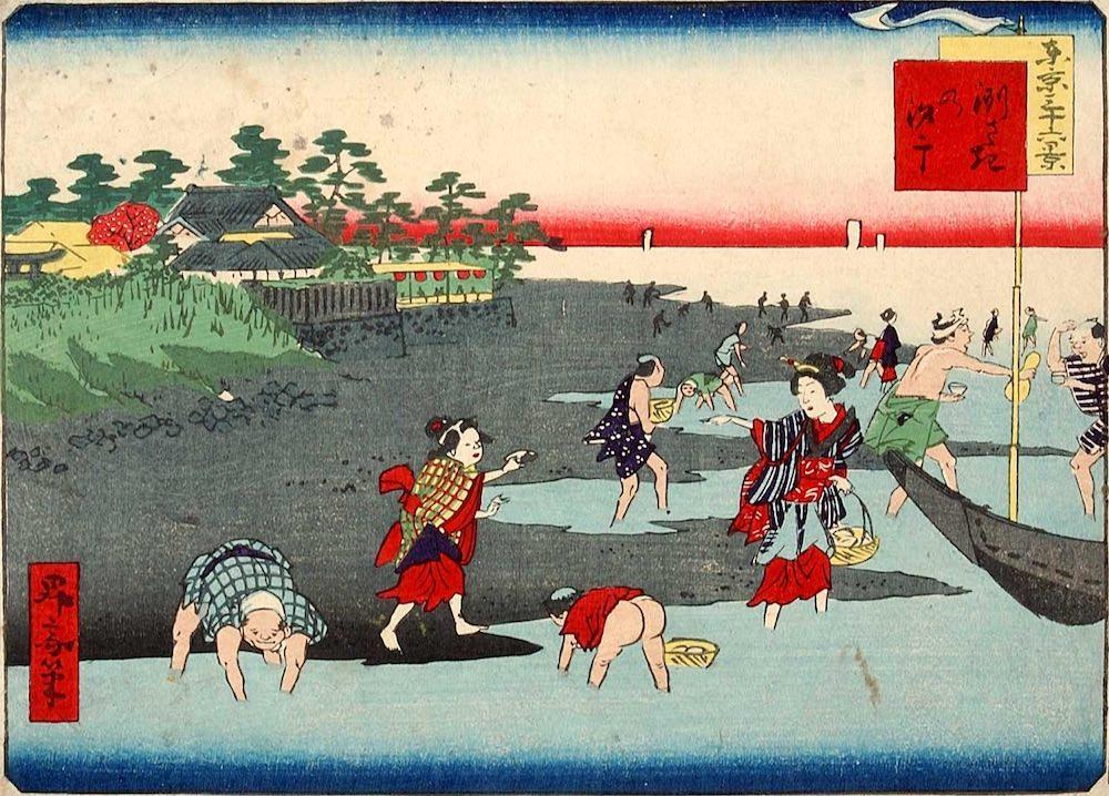江戸時代の潮干狩り(『東京三十六景 二十 洲さきの汐干』歌川一景 画)の拡大画像