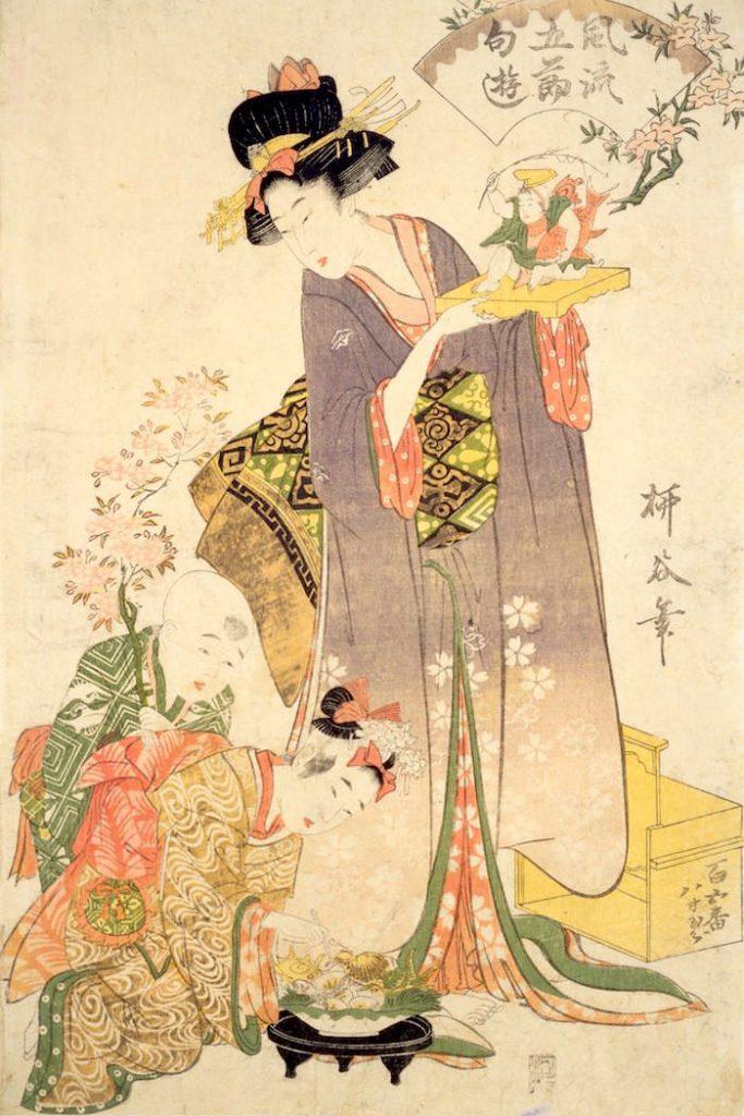 江戸時代、貝類はおひな様のお供えとして定番(『風流五節句遊』柳谷 画)の拡大画像