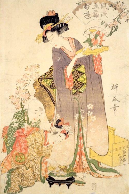 江戸時代、貝類はおひな様のお供えとして定番(『風流五節句遊』柳谷 画)