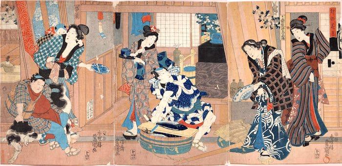 鰹をさばく魚屋(『卯の花月』三代歌川豊国 画)