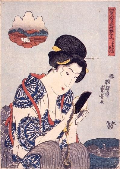 ナスの皮を包丁で剥く女性(『江戸じまん名物くらべ こま込のなす』歌川国芳 画)