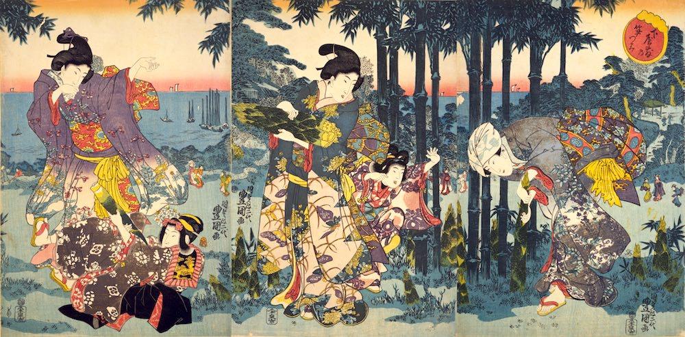 たけのこ堀を楽しむ女性や子どもたち(『下屋敷乃笋つみ』二代歌川豊国 画)の拡大画像