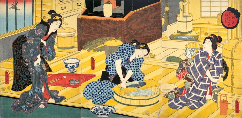初鰹をあつかった浮世絵(『十二月之内 卯月初時鳥』三代歌川豊国 画)の拡大画像
