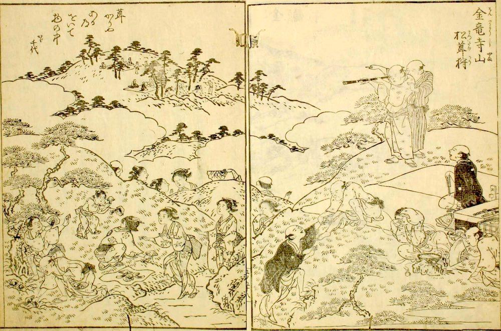 江戸時代の松茸狩り(『摂津名所図会』(巻5より)「金竜寺山松茸狩」)の拡大画像