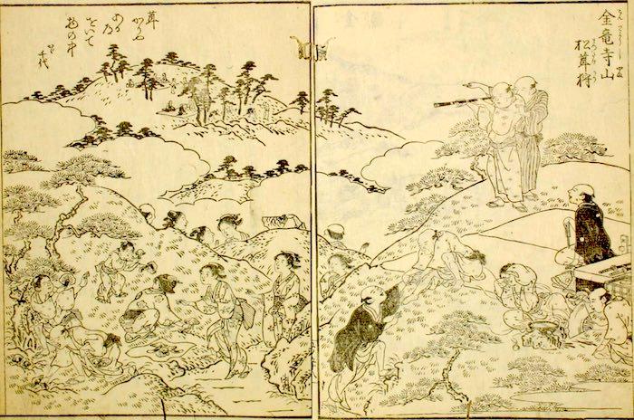 江戸時代の松茸狩り(『摂津名所図会』(巻5より)「金竜寺山松茸狩」)