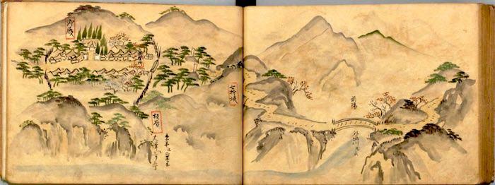 『江戸道中絵図』(江戸から米沢までの道中を描いた絵図)