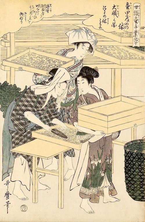 江戸時代、カイコの飼育をする女性(『女織蚕手業草』部分 喜多川歌麿 画)