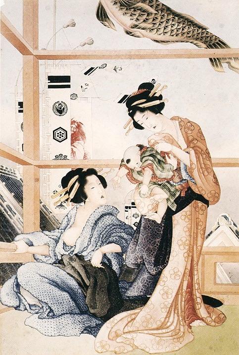 物干し場でくつろぐ女性たちと赤ちゃん。背後には端午の節句を祝う幟(のぼり)(葛飾北斎 画)