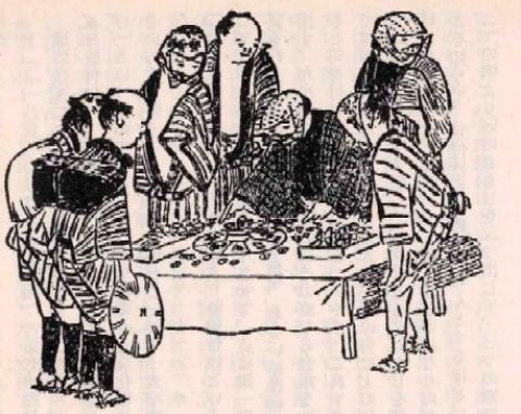江戸時代の賭博「どっこいどっこい」をする人々(『江戸府内絵本風俗往来』より)