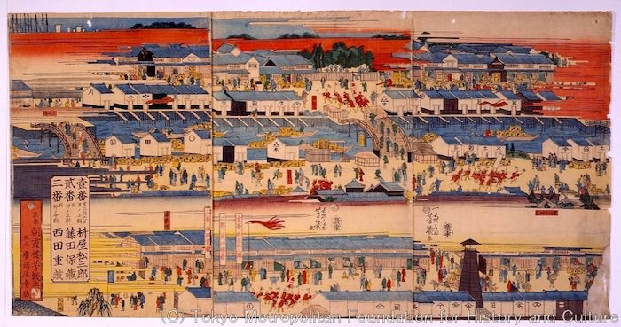 江戸時代の新酒の輸送レースを描いた浮世絵(『新酒番酒船入津繁栄図』落合芳幾 画)