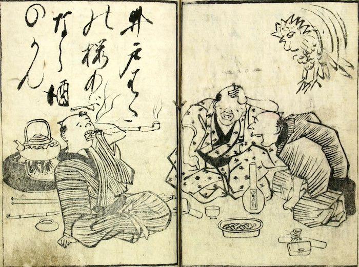 3人の男性陣が飲んでいる江戸ブランドのお酒宮戸川(『和合人』より)