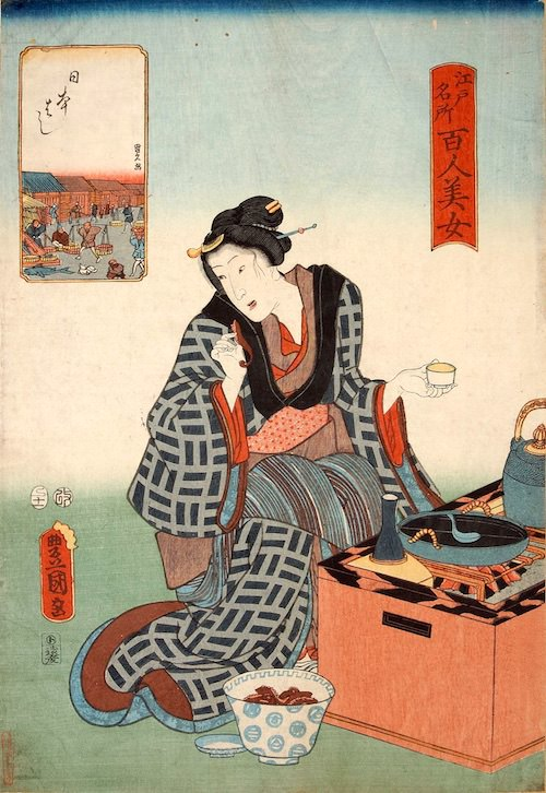 『江戸名所百人美女』「日本はし」(歌川豊国 画)