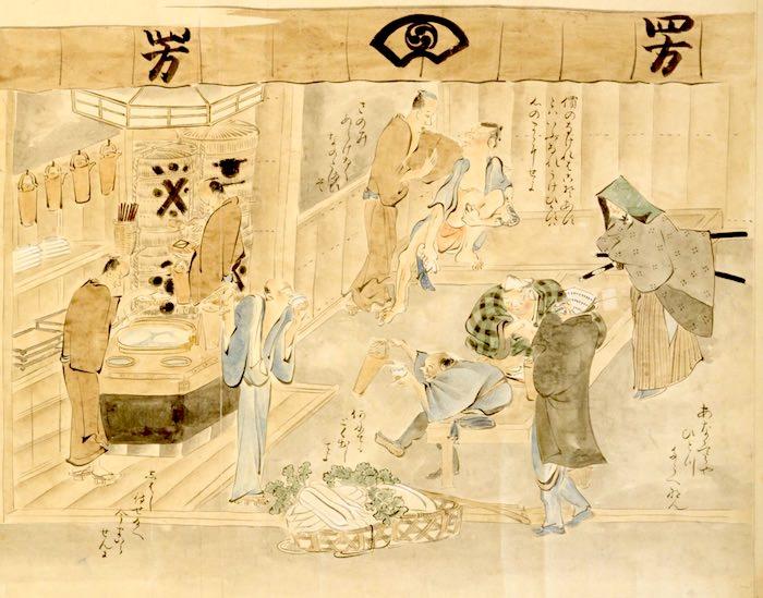 江戸時代、居酒屋で酒を飲む人たち(『近世職人尽絵詞』部分 鍬形蕙斎 画)