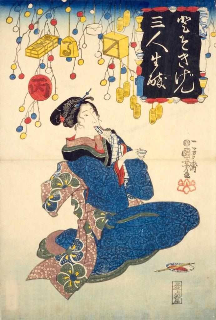猪口を手にする女性(『江戸風俗東錦絵』より「とそきげん三人生酔」部分 歌川国芳 画)の拡大画像