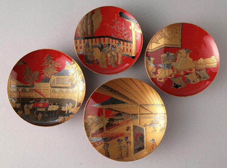 朱塗りの盃。大名家で使われていた(『朱漆塗鼠嫁入蒔絵盃』)の拡大画像