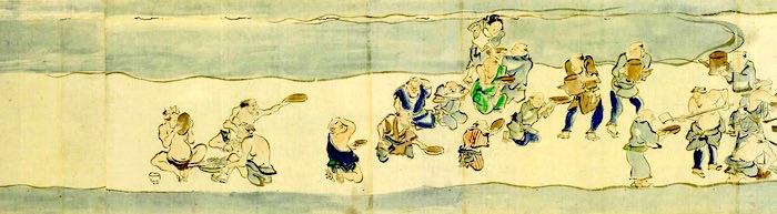 江戸時代の大酒飲み大会、千住酒合戦のようす