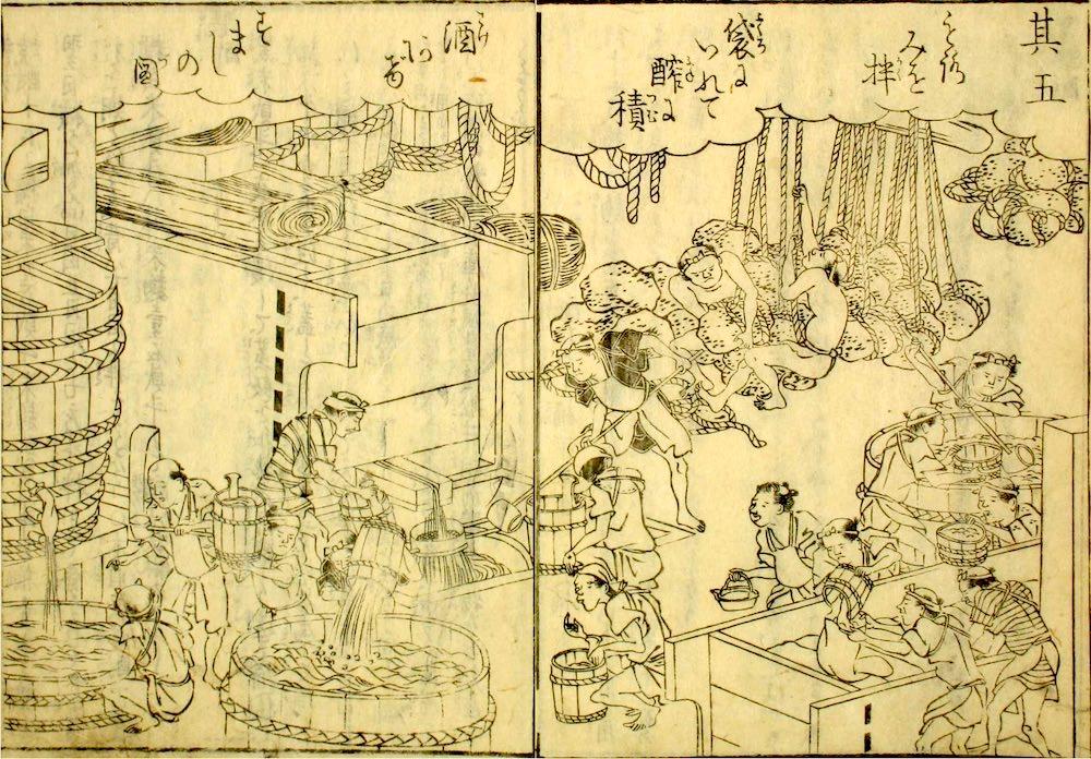 伊丹での酒づくりのようす(『日本山海名産図絵』より)の拡大画像