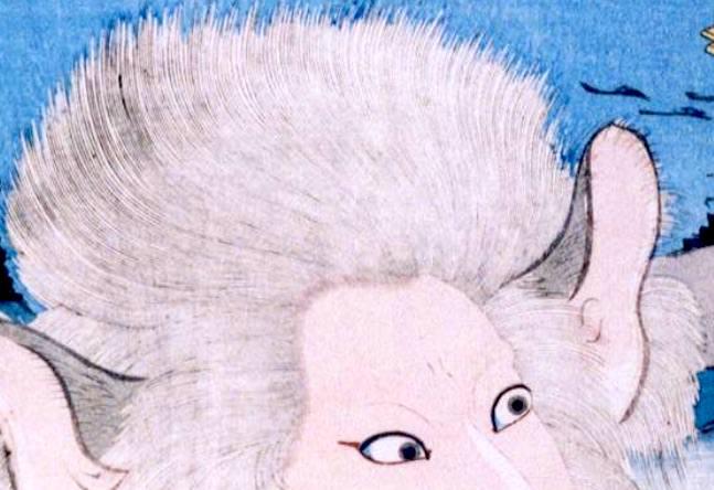 浮世絵の髪の毛の拡大。小刀で彫っている