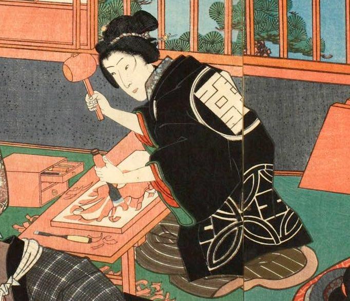 『今様見立士農工商』「職人」部分(三代歌川豊国 画)