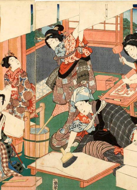 「どうさ」を紙に塗る女性たち(『今様見立士農工商』「職人」部分 三代歌川豊国 画)