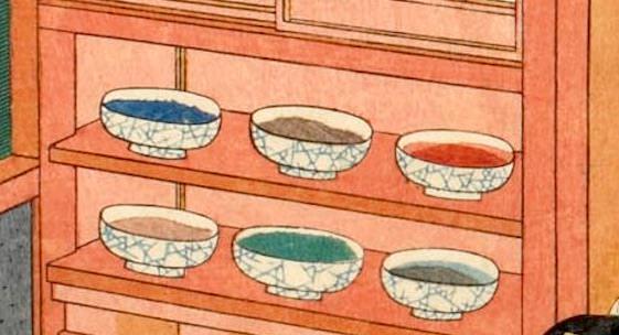 摺師の作業場の棚に並ぶ絵の具の入った鉢(『今様見立士農工商』「職人」部分 三代歌川豊国 画)