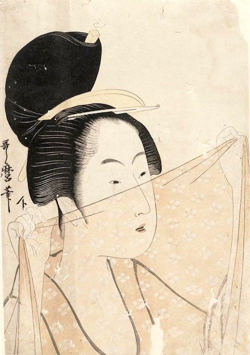 『布をかざす女』(喜多川歌麿 画)
